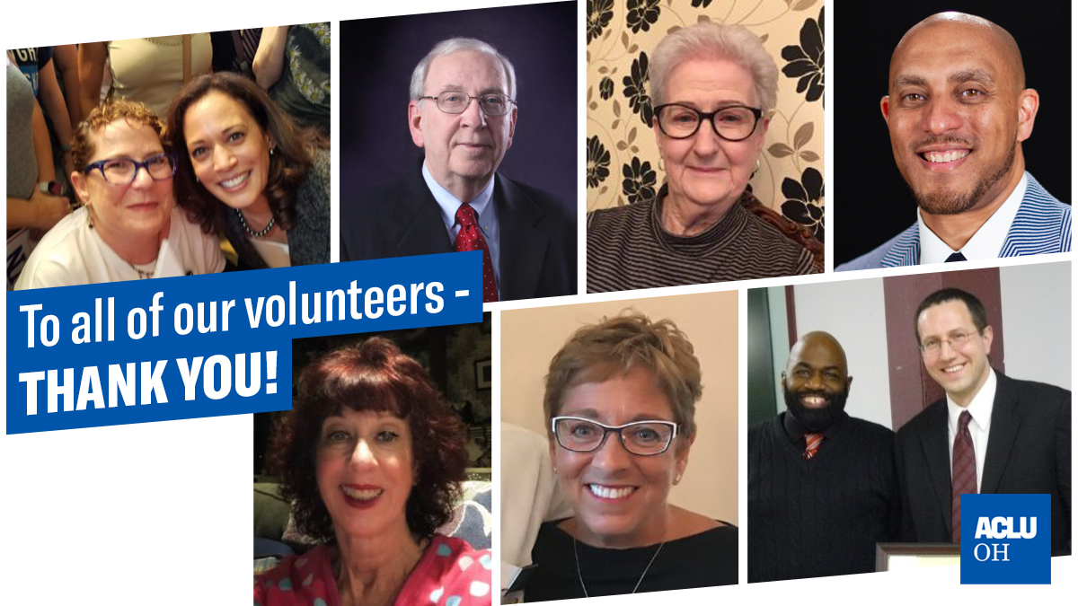 To All Of Our Volunteers - Thank You - Photo collage of ACLU of Ohio Volunteers