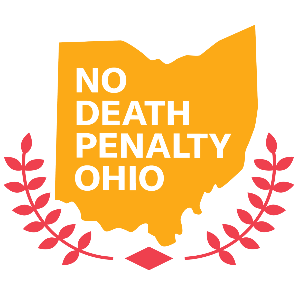 No Death Penalty Ohio in white font on an orange, solid color state of Ohio with red peace leave branches on the sides of the state