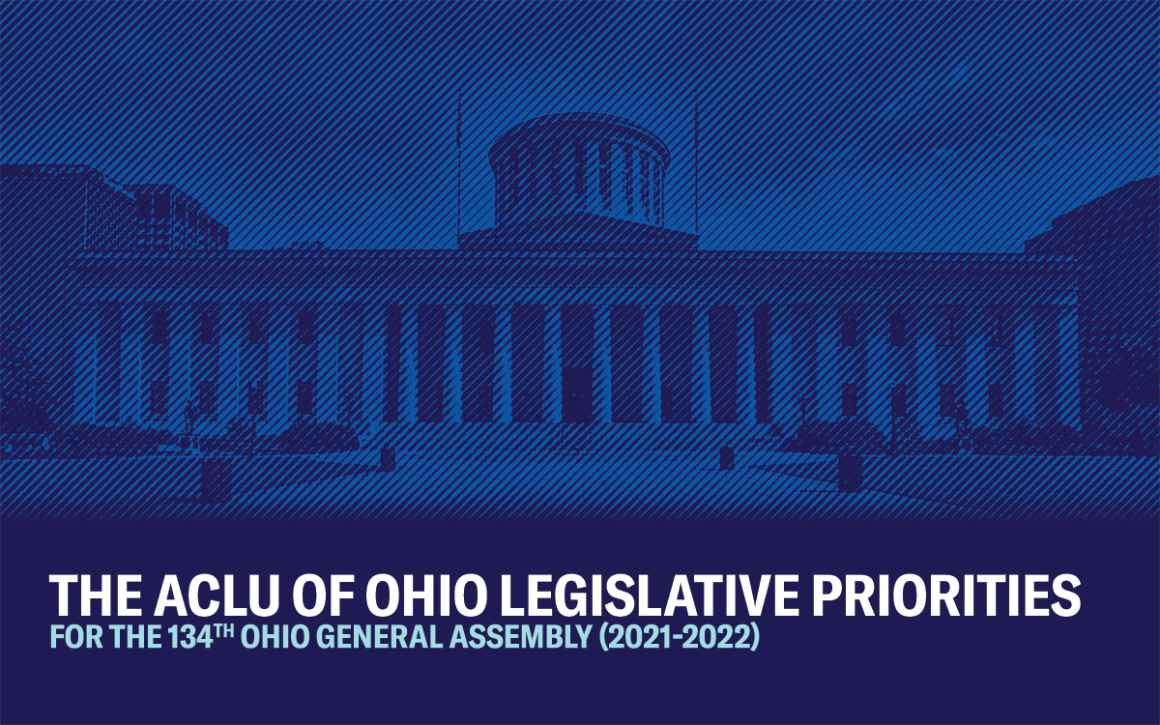Ohio Statehouse with a navy and blue color overlay and striped texture - The ACLU of Ohio Legislative Priorities for the 134th Ohio General Assembly (2021-2022)
