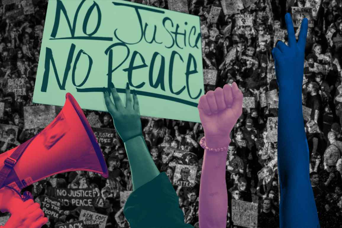Megaphone, 'No Justice No Peace' sign, raised fist, raised peace sign over a black and white aerial photo of a protest