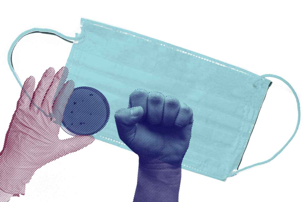 Medical glove with a purple color overlay, petri dish with a navy color overlay, raised fist with a navy overlay, and azure surgical mask