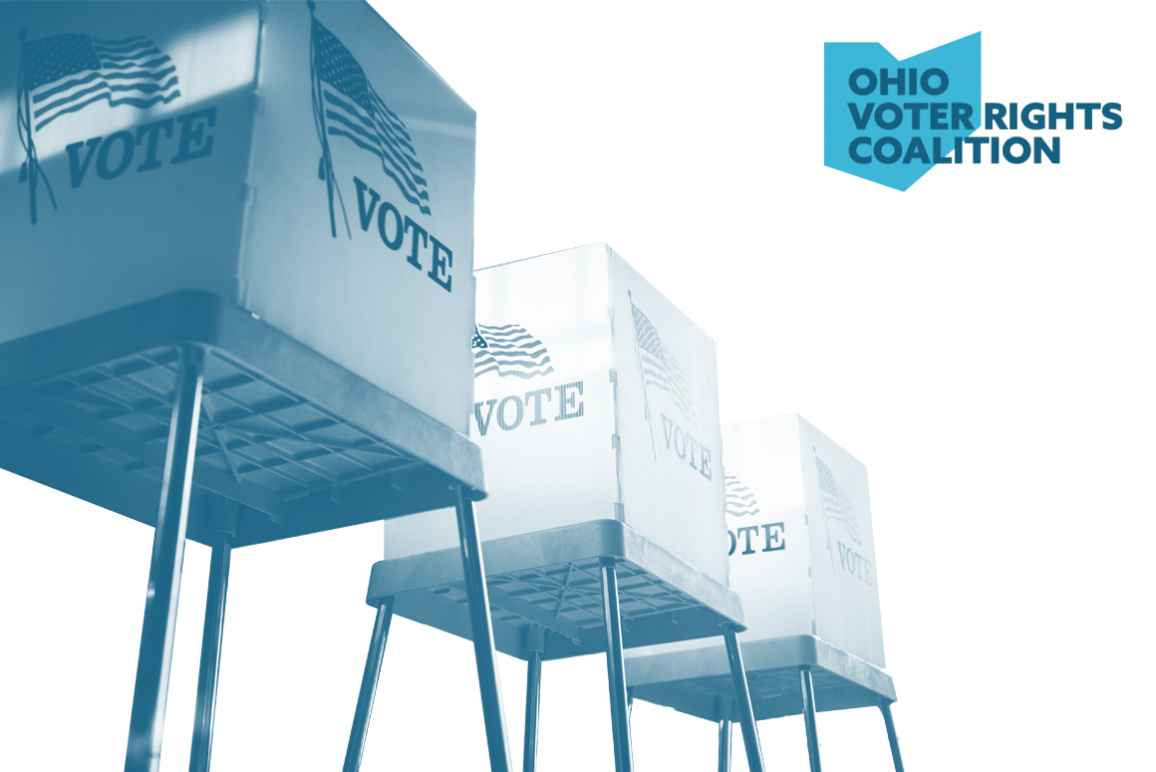 Voting booths with a blue and white color overlay on a white background with the Ohio Voter Rights Coalition logo
