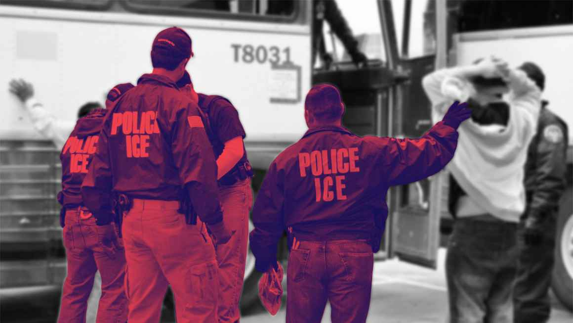 ICE agents searching people