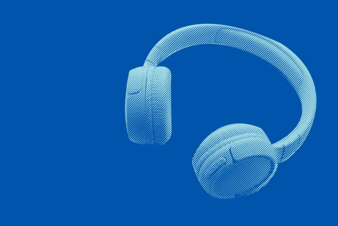 Pair of headphones with an azure color overlay on a blue background