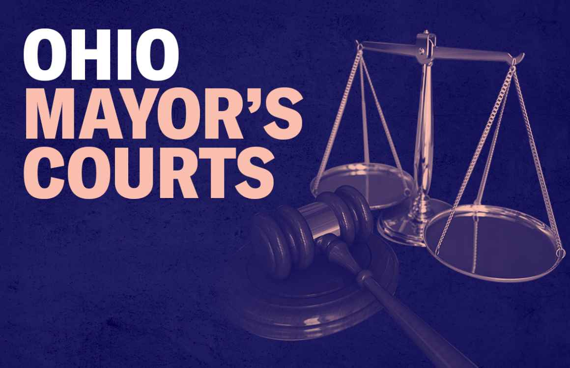Ohio Mayor's Courts - gavel and scales of justice with a pink overlay on a textured navy background
