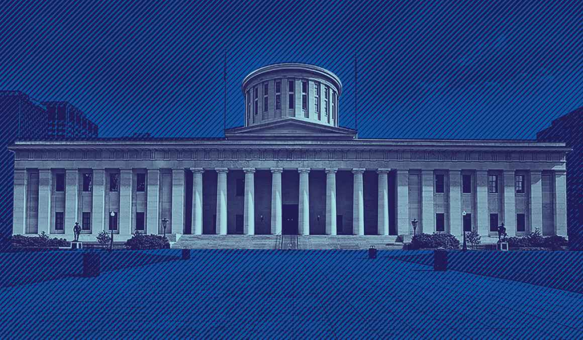 Ohio Statehouse with a navy and azure color overlay, background with navy and blue lined texture overlay