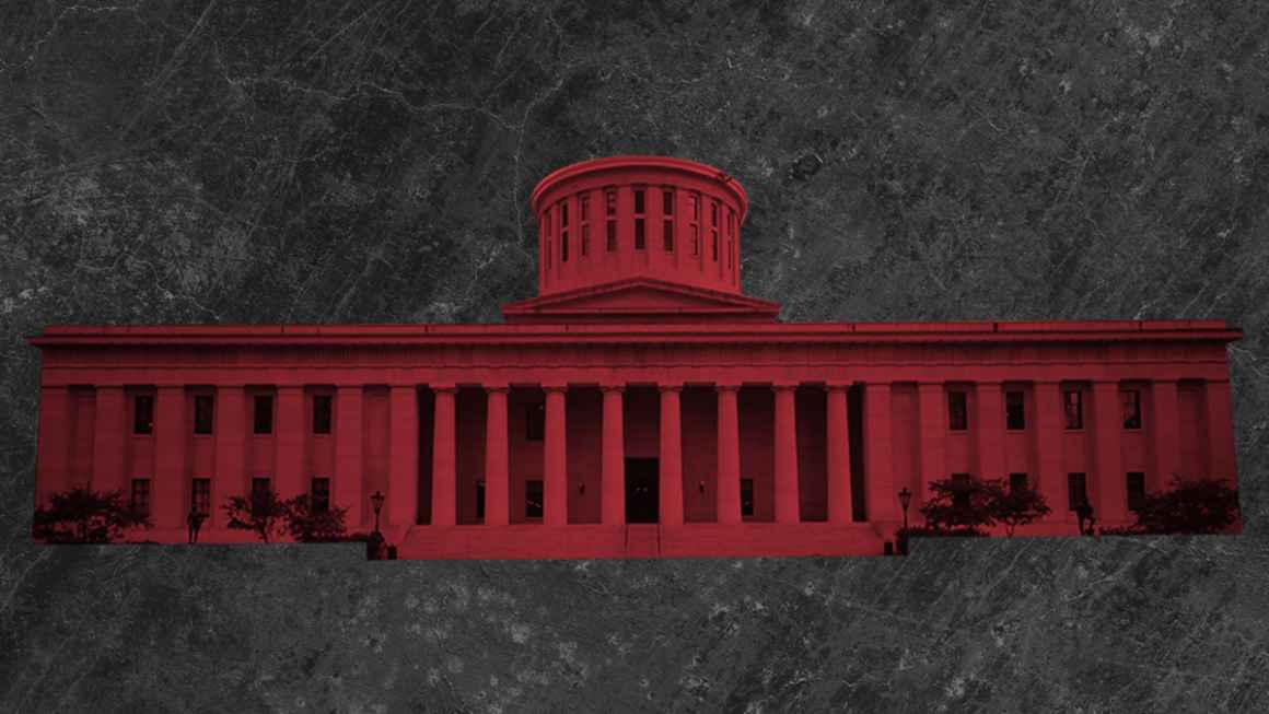 Ohio Statehouse with a red color overlay on a grey textured background