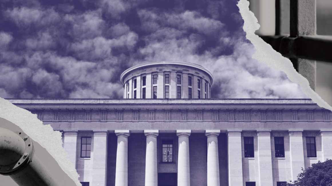 Ohio Statehouse with a navy and white color overlay, with rips on the corners exposing a prison cell and a pipeline