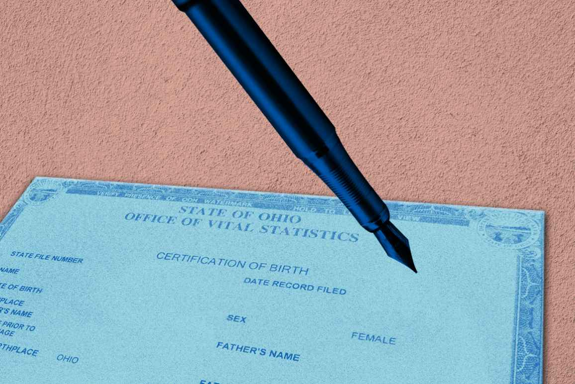 Ohio Birth Certificate with an azure color overlay and a pen with a blue color overlay, on a textured pink background