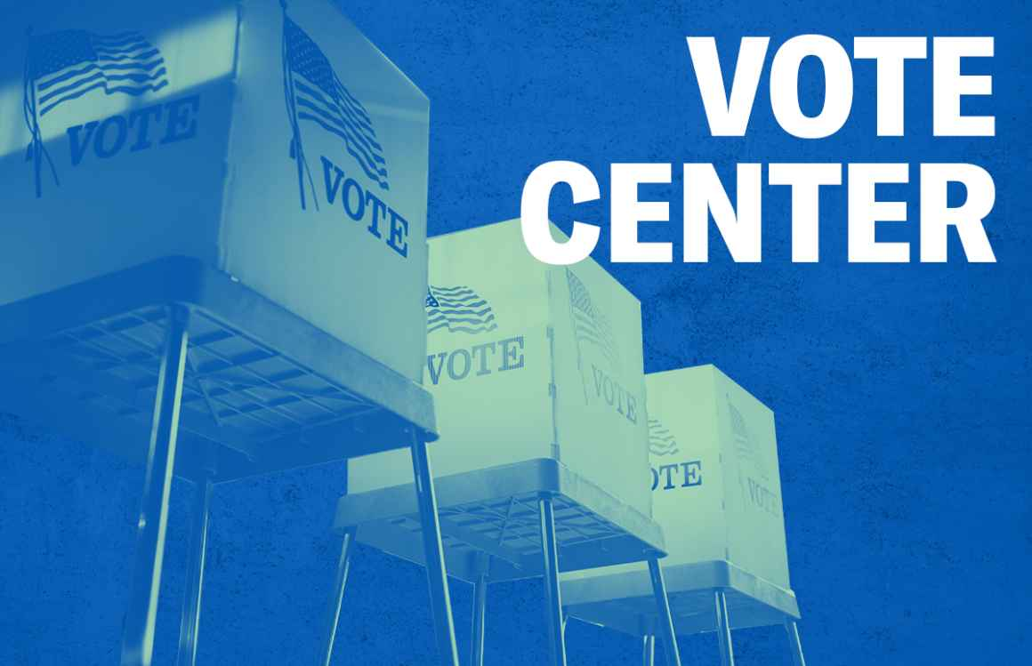 Voting booths with a green overlay, Vote Center in white, on a textured blue background