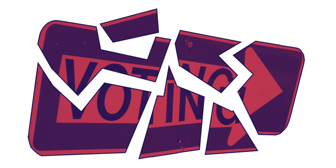 Voting arrow sign broken up into pieces with navy and red color overlay