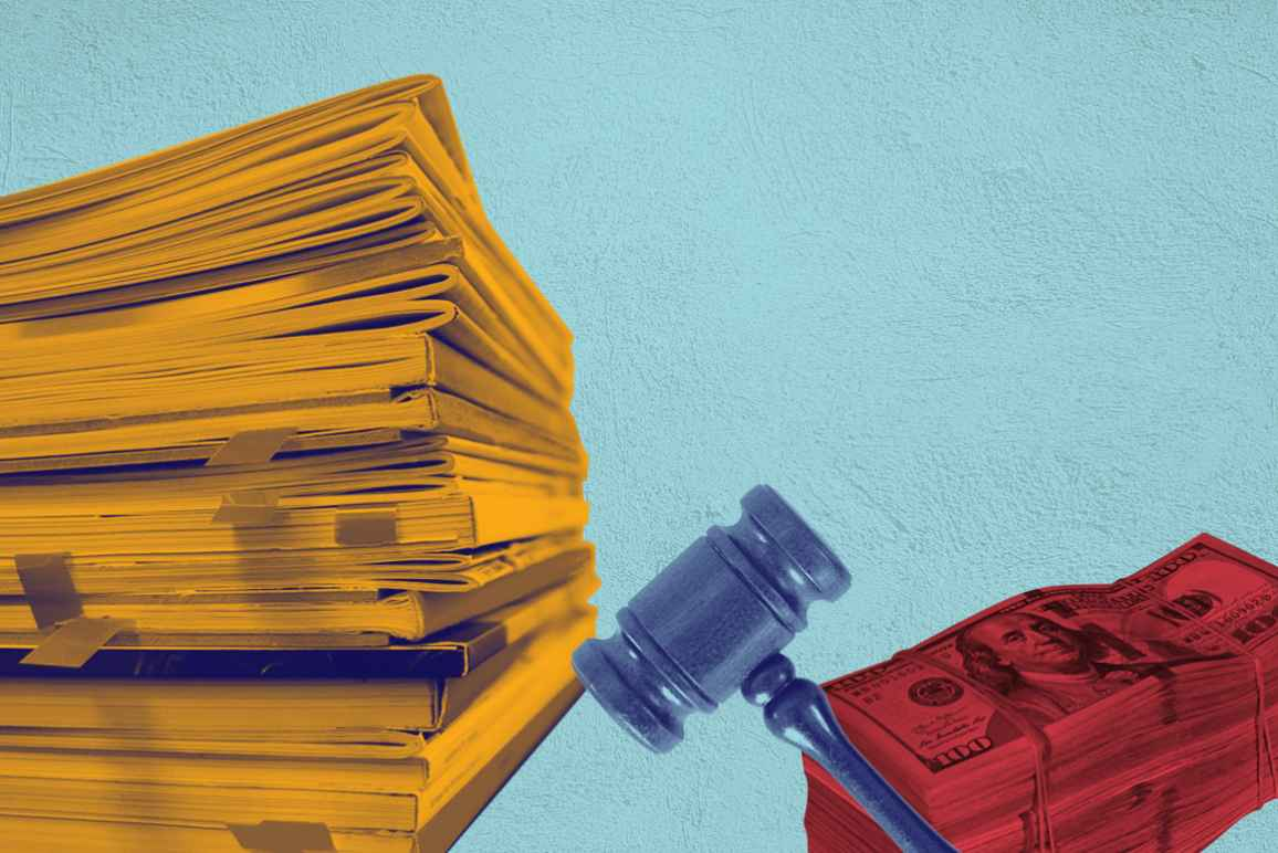 Stack of papers with an orange color overlay, gavel with a navy color overlay, stack of money with a red color overlay on a textured azure background