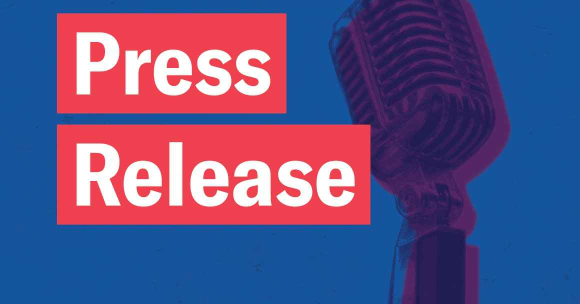 Press Release in white font in red rectangles, a retro microphone with navy and purple color overlay on a textured blue background