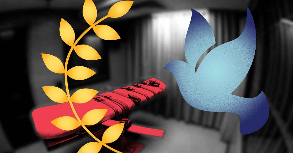 Peace dove with a blue color overlay, peace leaves with an orange color overlay on a blurry image of a lethal injection bed in a prison cell